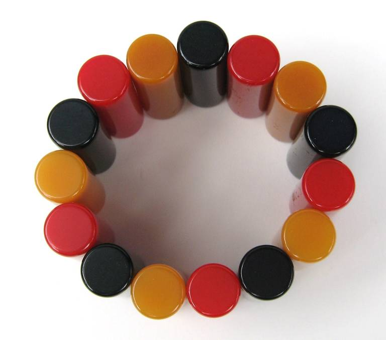 Stunning 1940s Bakelite Multi colored Bracelet In Excellent Condition For Sale In Wallkill, NY