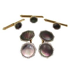 Gold and Mother of Pearl Cuff link & Shirt Stud Set 1930s