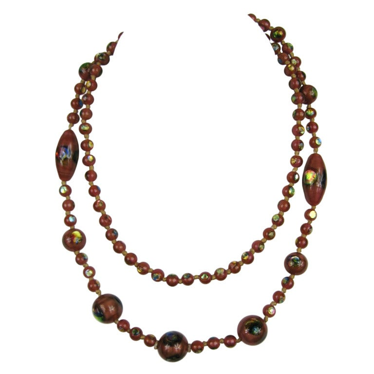 2b7057f42ae Lampwork Glass Iridescent Foiled Beaded Necklace 1930s