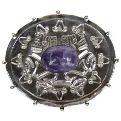 1940s William Spratling Amethyst Sterling Silver Pin Brooch