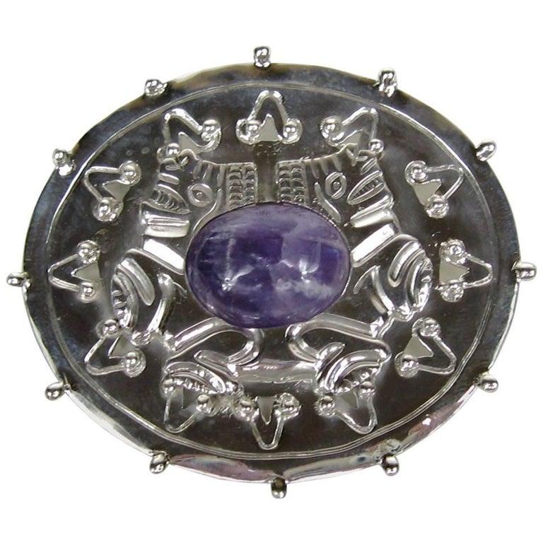 1940s William Spratling Amethyst Sterling Silver Pin Brooch For Sale