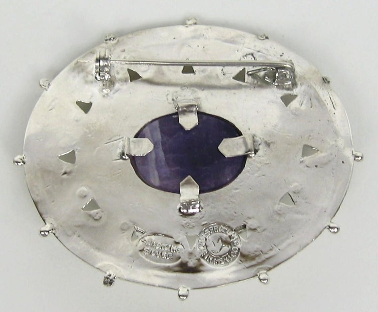 Cabochon 1940s William Spratling Amethyst Sterling Silver Pin Brooch For Sale