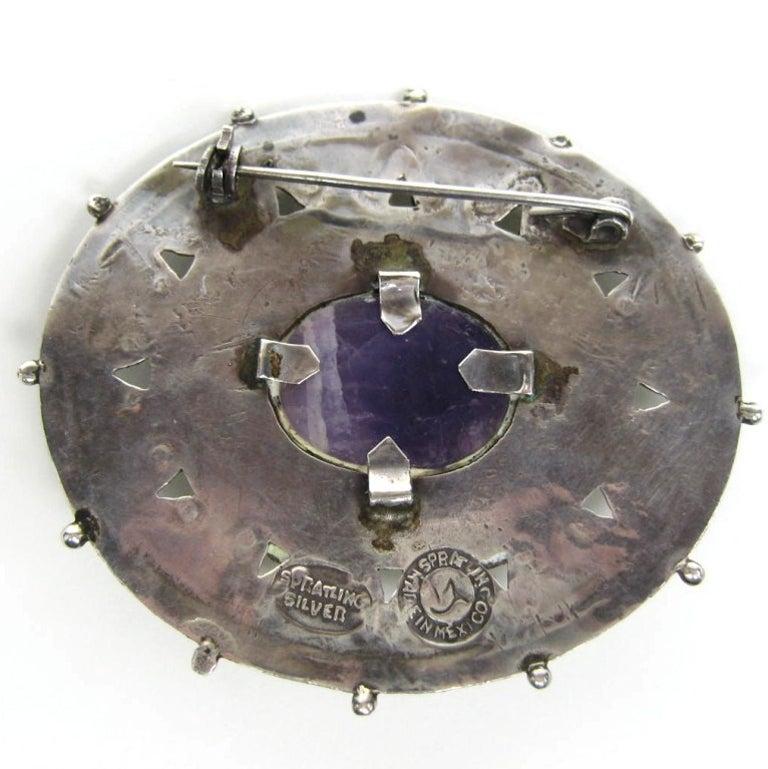 1940s William Spratling Amethyst Sterling Silver Pin Brooch For Sale 1