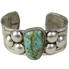 1950s Old Pawn Sterling Silver Turqouise Cuff Bracelet