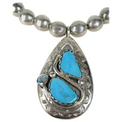 Effie C Zuni Sterling Silver Native American Pendant Necklace Turquoise
