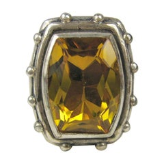 1990s Stephen Dweck Sterling Silver Citrine Ring New, Never Worn