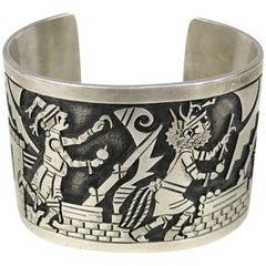 Wide Sterling Silver Southwestern Story Teller Bracelet