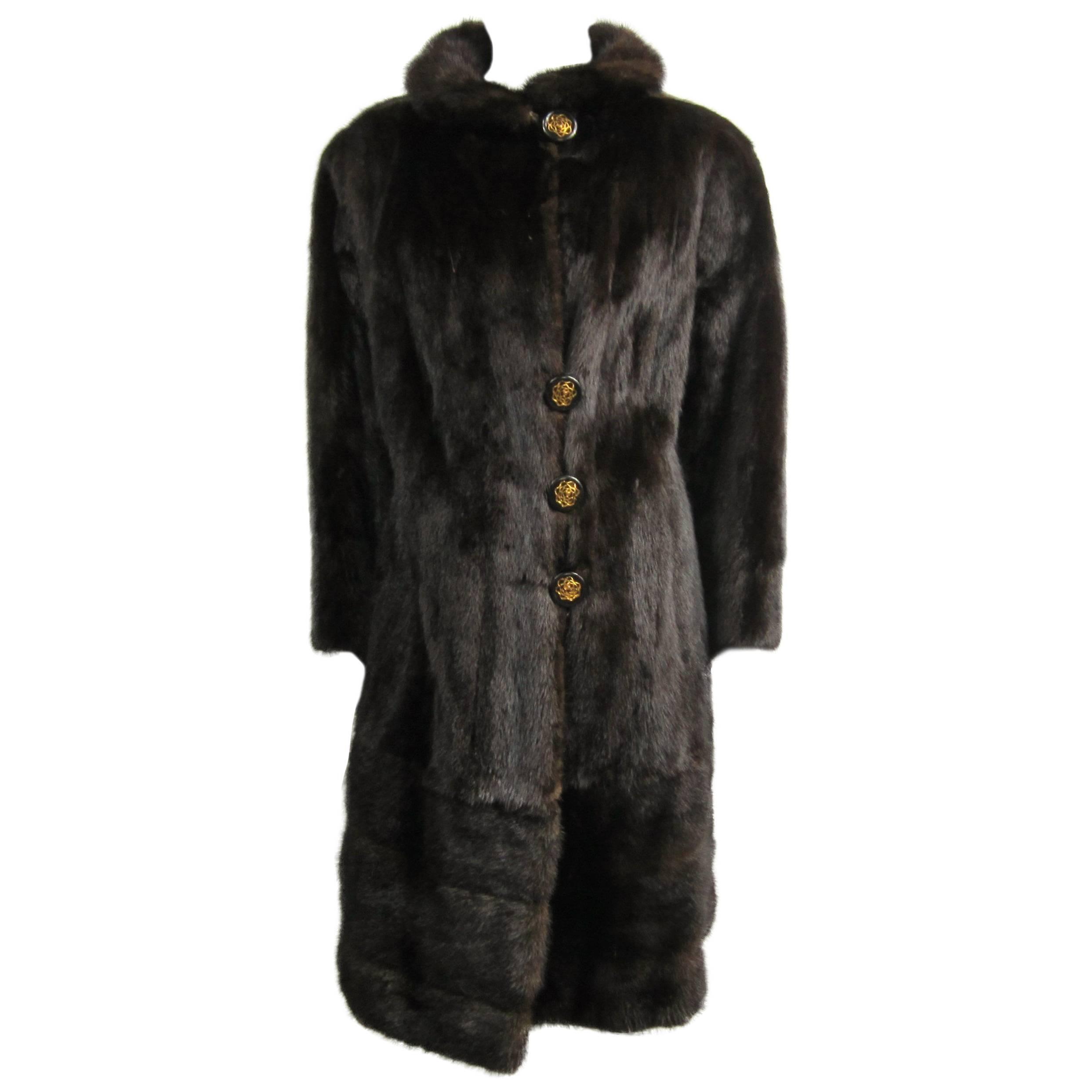 Ranch Mink Fur Coat & Jacket Large w/ Zippered Bottom 2 In 1