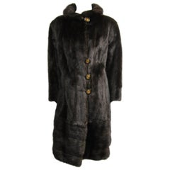 Ranch Mink Fur Coat & Jacket Large w/ Zippered Bottom 2 In 1
