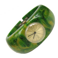 Vintage 1930s Green Bakelite Catalin Clamper Watch Bracelet