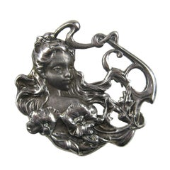 Art Nouveau Sterling silver Portrait Brooch Pin Pendant 1920s