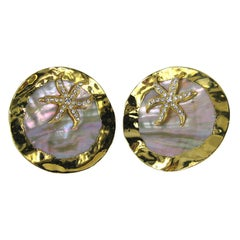 GIANFRANCO FERRE Massive Abalone Crystal Earrings never worn 1980s