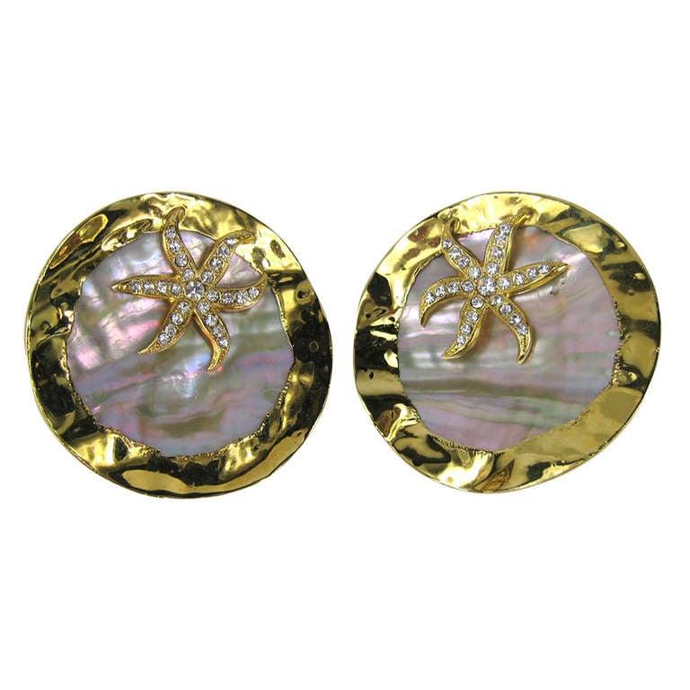GIANFRANCO FERRE Massive Abalone Crystal Earrings never worn 1980s For Sale