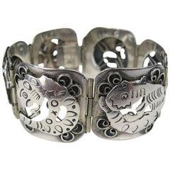 Vintage Sterling Silver Mexican Bold Link Bracelet