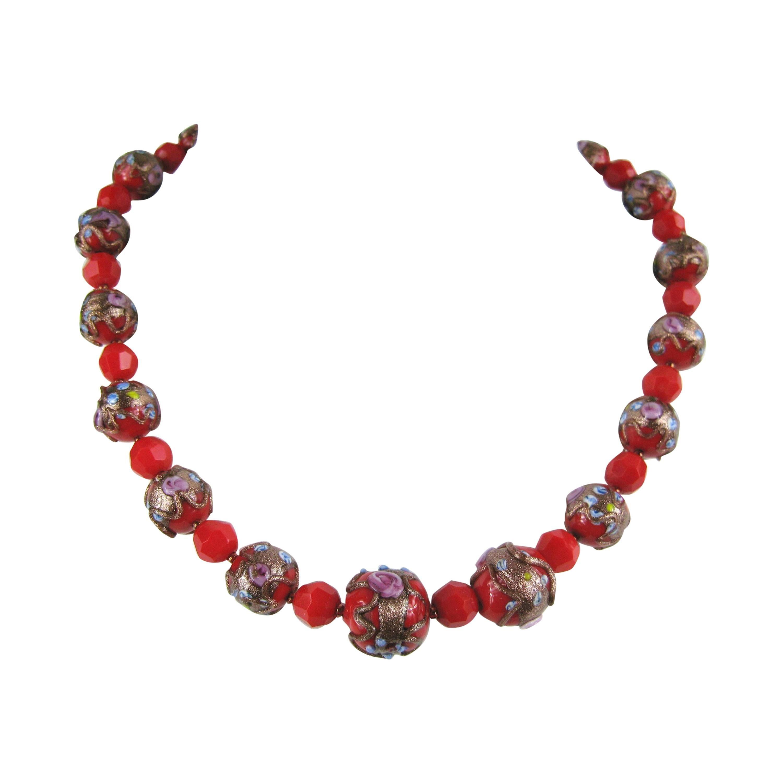 8a0a84c6b94a6 Vintage 1940s Venetian Art Gold Foil Glass Bead Necklace