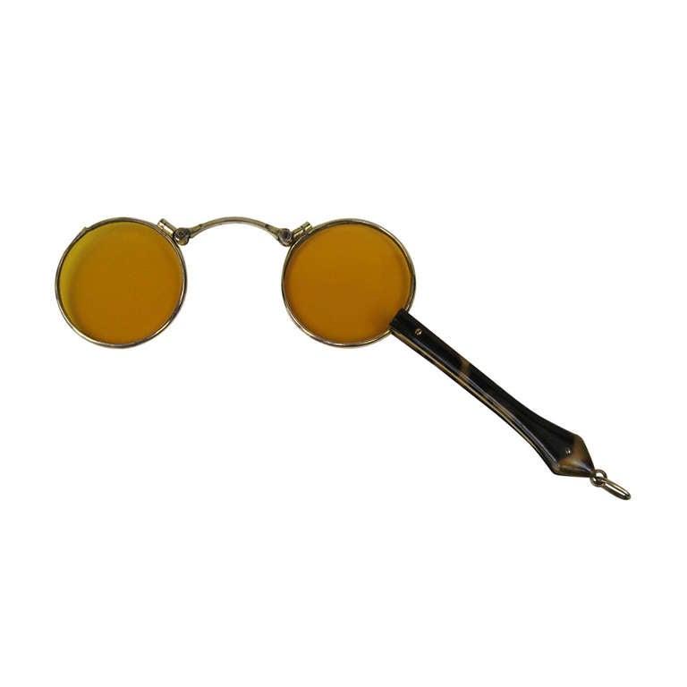 14k Gold lorgnette tortoise handle opera glasses For Sale
