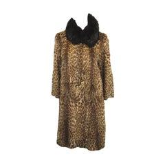 1940s Vintage Geoffrey Cat Print Fur Coat