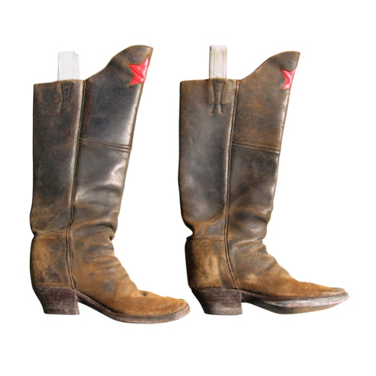 Men's cavalry  Style Cowboy Boots Distressed Leather Red Star For Sale