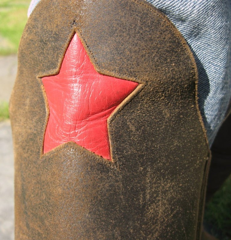 Men's cavalry  Style Cowboy Boots Distressed Leather Red Star For Sale 2