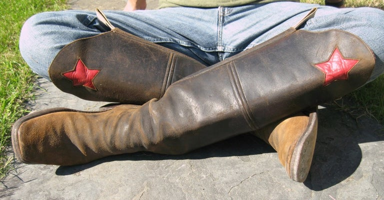 Men's cavalry  Style Cowboy Boots Distressed Leather Red Star For Sale 3