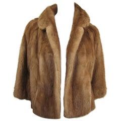 Mink Fur Shrug Jacket Stole-Vintage 1960s Hollywood Glam Pastel