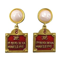 Karl Lagerfeld Gilt Enameled Earrings 14 Blvd De La Madeleine New, Never Worn
