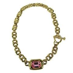Stunning Ciner Pink swarovski Crystal Necklace 1980s New, never worn