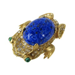 Kenneth Jay Lane Gold Gilt Lapis Blue Cabochon FROG Brooch