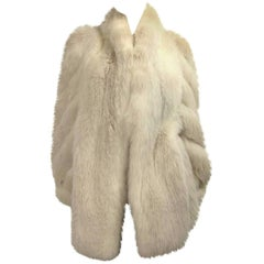 1990s White Fox Fur Jacket Swirl Sleeves soft supple