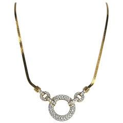 SWAROVSKI Crystal Gold Gilt Drop Necklace Circle New, Never Worn 1980s