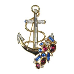 Swarovski Crystal Glitz Anchor Brooch Pin New, never worn 1980s