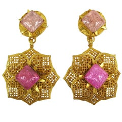 1990s Philippe ferrandis Pink Gripoix Glass Dangle Earrings New Never worn