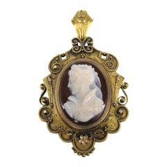 Victorian Gold Agate Cameo Hair Brooch / Pin Pendant Never Used