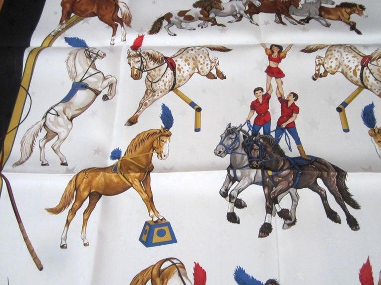 Gray Hermes Silk Scarf EN PISTE Horses Robert Dallet 1990s New, Never Worn  For Sale