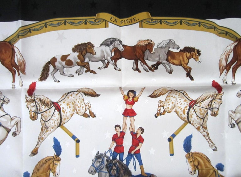 Hermes Silk Scarf EN PISTE Horses Robert Dallet 1990s New, Never Worn  In New Condition For Sale In Wallkill, NY