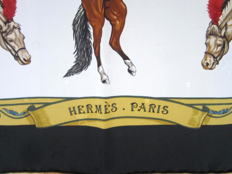 Hermes Silk Scarf EN PISTE Horses Robert Dallet 1990s New, Never Worn  For Sale 1