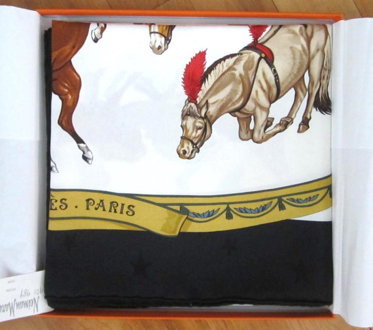 Hermes Silk Scarf EN PISTE Horses Robert Dallet 1990s New, Never Worn  For Sale 3