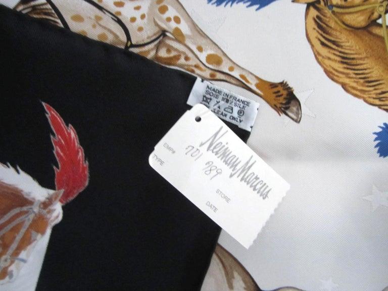 Hermes Silk Scarf EN PISTE Horses Robert Dallet 1990s New, Never Worn  For Sale 4