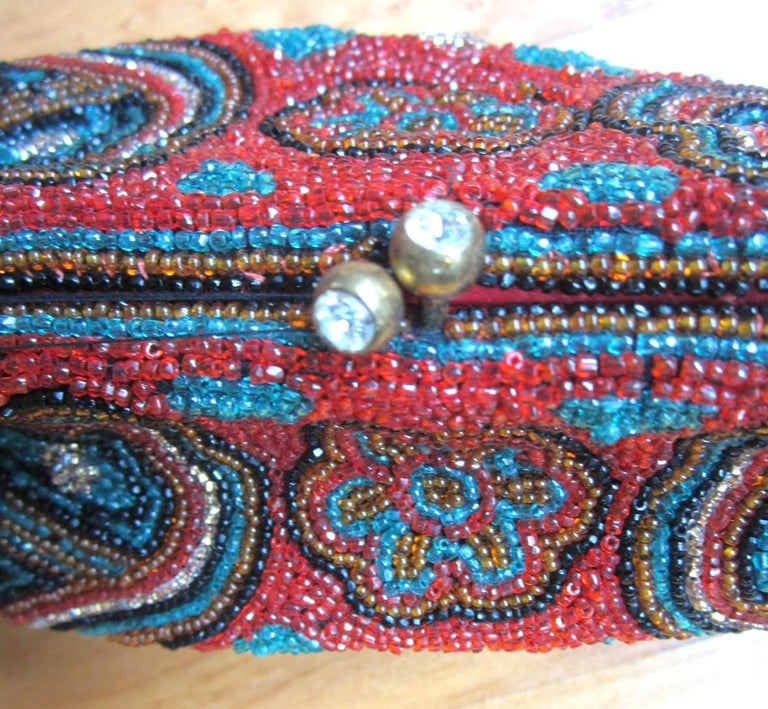 Rich Jeweled Tone Walborg Beaded Clutch Purse 1940s Vintage  For Sale 1