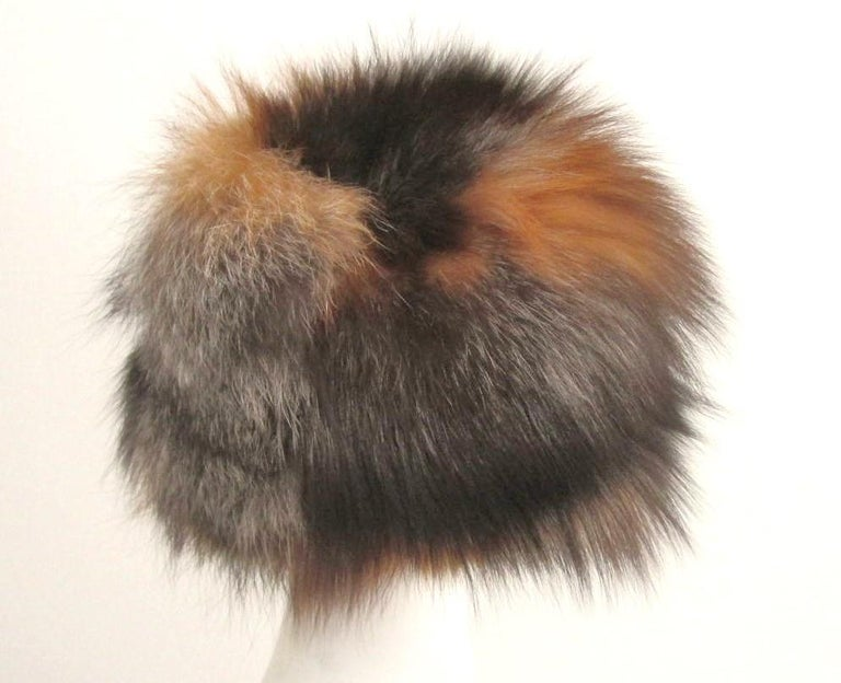 Brown Red and Silver Fox Fur Hat  For Sale