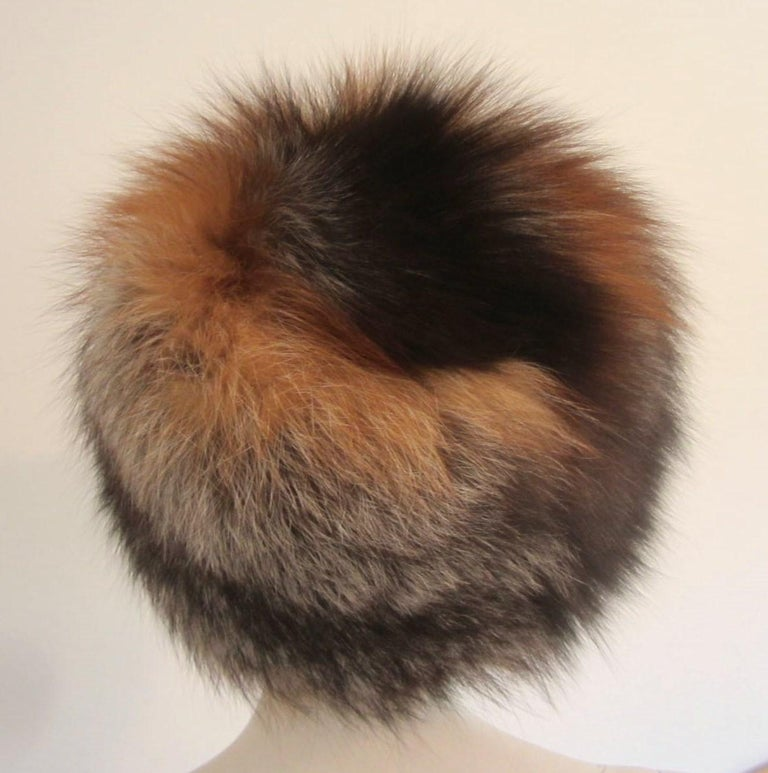 Women's or Men's Red and Silver Fox Fur Hat  For Sale