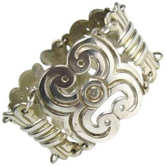 Sterling Silver Large Mexican Paneled Bracelet 1960s