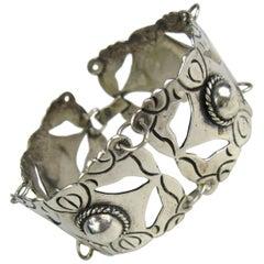 1960s Vintage Mexican Silver Large Panel Bracelet