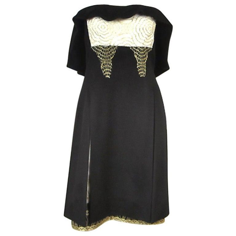 Yves Saint Laurent YSL Strapless Cashmere Little black dress 1990s For Sale