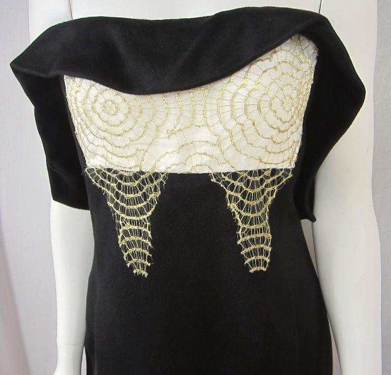 Black Yves Saint Laurent YSL Strapless Cashmere Little black dress 1990s For Sale