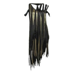 Bob Mackie 1980s Gold and Black Beaded asymmetrical Disco Baby dress