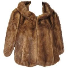 Mink Fur Shrug Stole Jacket Vintage 1960s Timeless Portrait Collar
