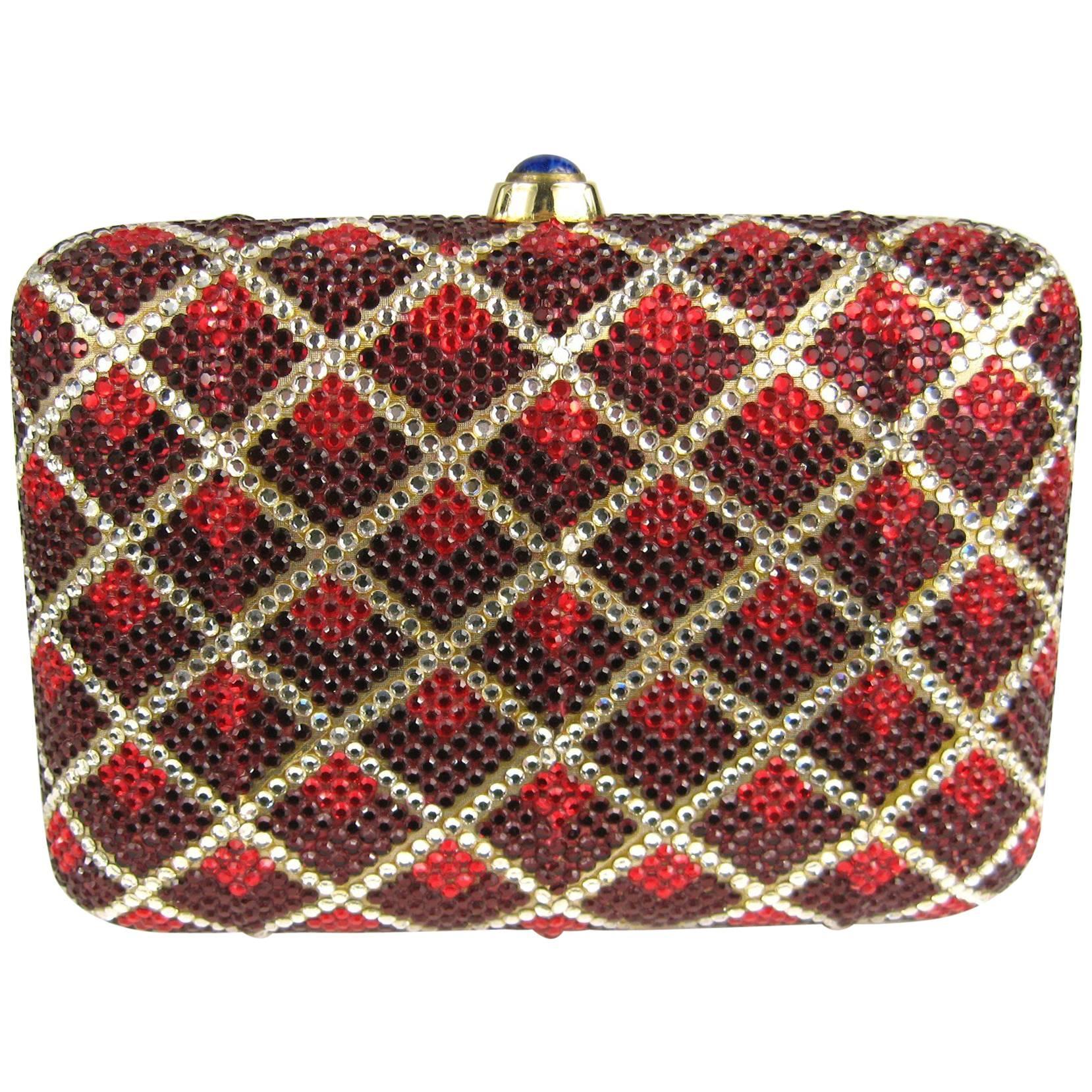 Judith Leiber Red Swarovski Crystal Minaudiere Evening Bag Clutch Holiday Runway