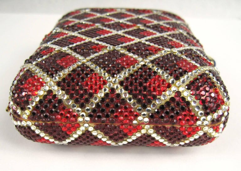 Judith Leiber Red Swarovski Crystal Minaudiere Evening Bag Clutch Holiday Runway For Sale 1