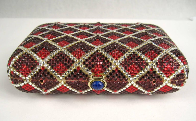 Judith Leiber Red Swarovski Crystal Minaudiere Evening Bag Clutch Holiday Runway For Sale 3